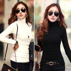 Women-039-s-Slim-Fit-Long-Sleeve-Cotton-T-Shirt-Ladies-Casual-Turtleneck-Tops-Blouse