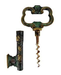 Antique-Brass-Corkscrew-Key-Wine-Bottle-Opener