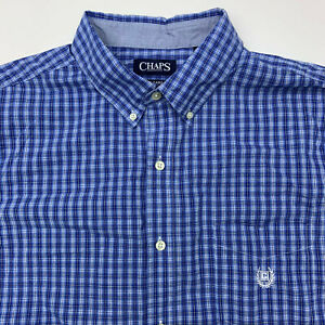 Chaps-Button-Up-Shirt-Mens-XXL-Blue-Check-Easy-Care-Casual