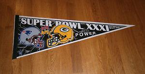 1996-Green-Bay-Packers-vs-New-England-Patriots-Super-Bowl-XXXI-pennant-Favre