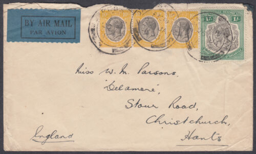 1933 Mandated Territory of Tanganyika Dar Es Salaam via Dodama BS UK; Airmail