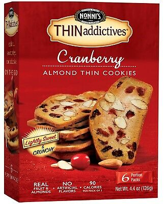 4.4 Ounce 6 Count Nonnis THINaddictives Thin Cookies Cranberry Almond