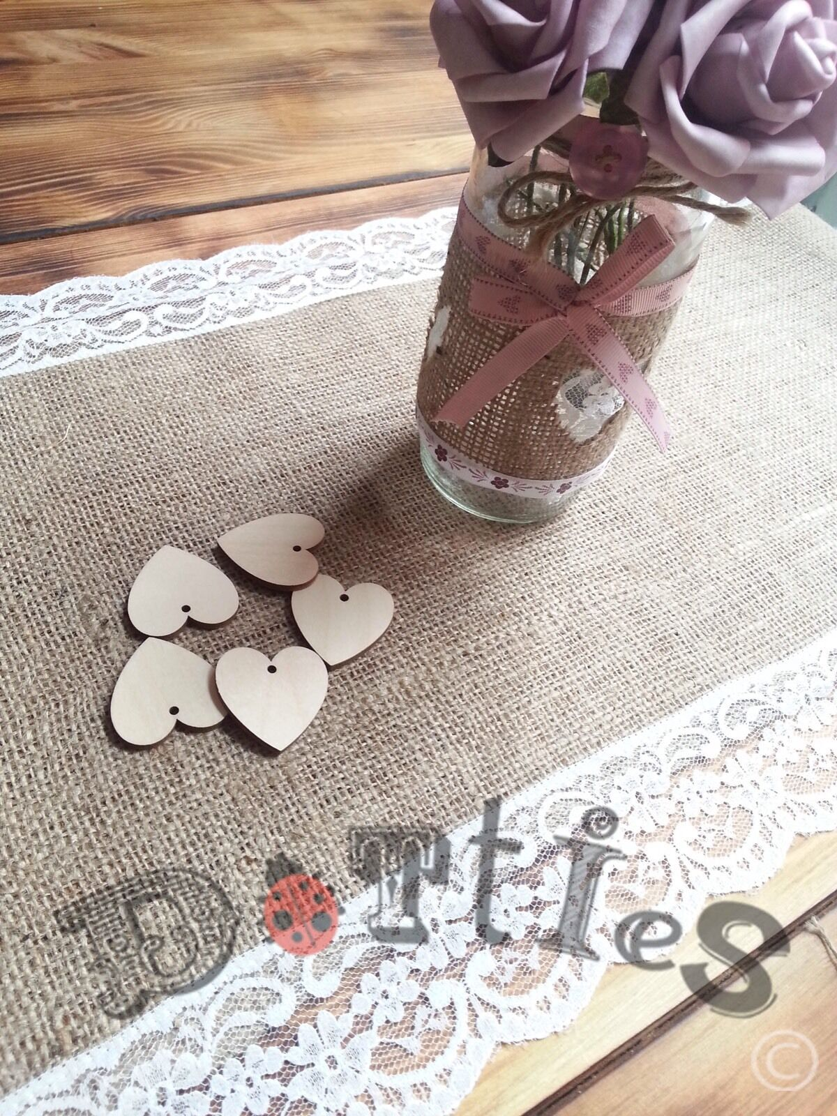 42ft Beautiful Handmade Hessian and Lace Table Runners