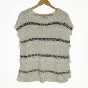 Ann-Taylor-LOFT-Womens-Shirt-Tassel-Sweater-Short-Sleeve-Cable-Knit-Top-Sz-S