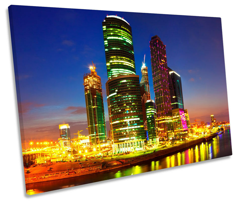 Moscow City Skyline Russia SINGLE CANVAS WALL ART Print Picture