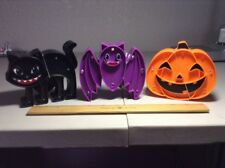 "3 Lots of 2 or 4 HALLOWEEN 5/"" LED Light Up Plastic Decor Bat Pumpkin Black Cat"