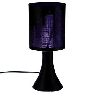 lampe new york violette noire m tal tactile 3 intensit s. Black Bedroom Furniture Sets. Home Design Ideas