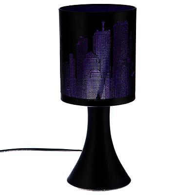 Lampe New York Violette / Noire  Métal Tactile 3 Intensités  Déco Chevet