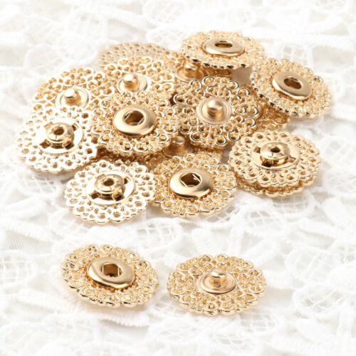 10 Hollow Flower Shaped Metal Snap Buttons Clothes Clasp Fasteners DIY Sewing