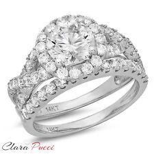 2.40 CT Simulated Round Cut Halo Bridal Engagement Ring band set 14k White Gold