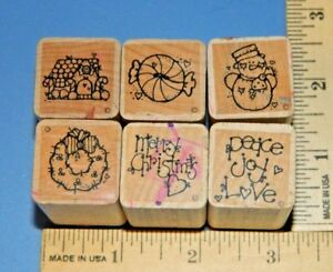 Lot-of-6-Christmas-DOTS-Foam-amp-Wood-Rubber-Stamp-1