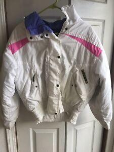 Vtg Womens Slalom Ski Jacket Full Zip 80s 90s Down Puffer White Pink Size 8