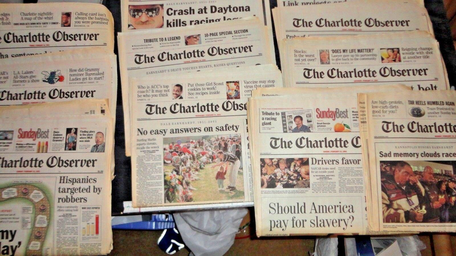 Lote de periódico Observador Charlotte la muerte de Dale Earnhardt toda la semana + Lote de 11