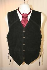 Outlaw Sheriff Black Vest Lace Up Suede Mens M 42 Western SASS Steampunk 2002