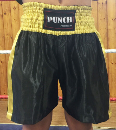 Boxing shorts Black /& Gold with printing up to max 10 words.