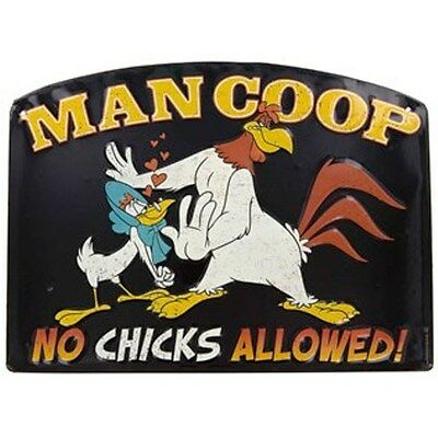 Man Coop Embossed Die Cut Tin Sign Featuring Foghorn Leghorn & Miss Prissy