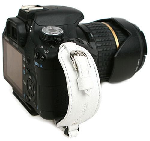 Original de cámara de cuero correa de mano agarre Plato-Blanco-Película Dslr Vintage Lindo