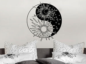 Yin Yang Wall Decal Bedroom Decal Sun And Crescent Moon Star Sticker