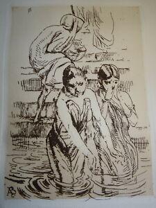 Albert Besnard (1849 -1934) Eau Forte Originale Gange Benares Femmes Inde 1912