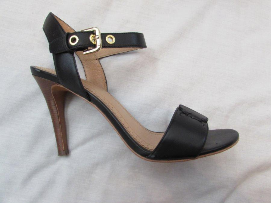 BROOKS BrougeHERS femmes 7 noir leather ankle strap open toe chaussures heels
