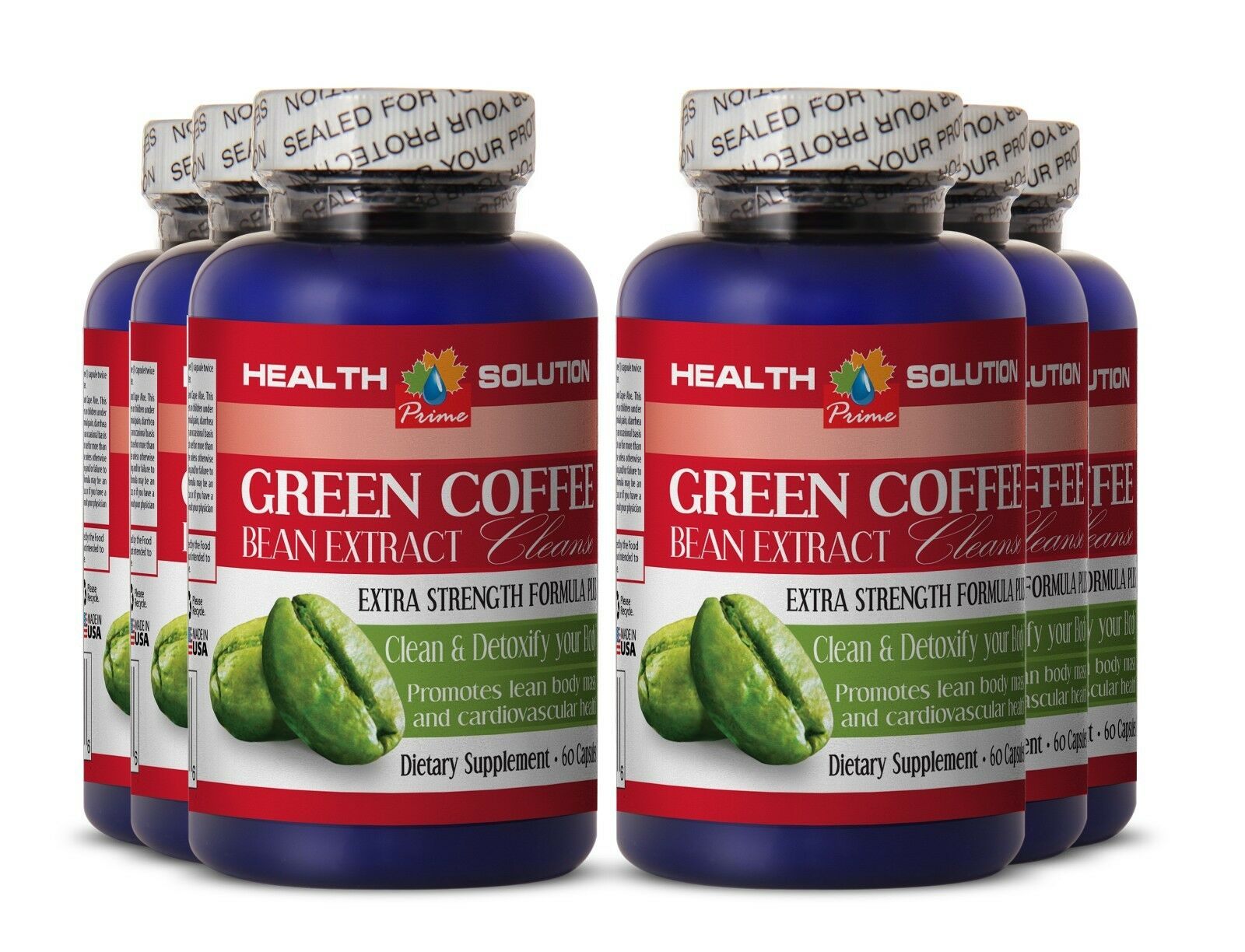 Lose Weight Fast   Fat Burner For Women   GREEN COFFE BEAN EXTRACT CLEANSE 6 Bot