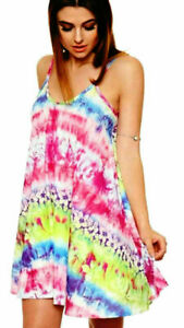 Women-Ladies-Printed-Strappy-Swing-Sleeveless-Mini-Summer-Vest-Cami-Dress-Top