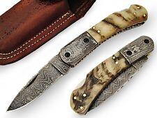 Tenacious Pocket Knife Damascus Steel Blade and Bolster Ram Horn Handle AT-1418