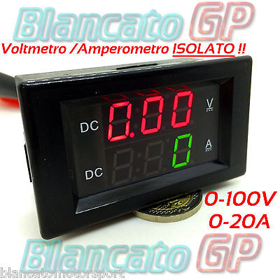 2in1 ISOLATO VOLTMETRO 0-100V AMPEROMETRO 0-20A da pannello isolated ammeter DC