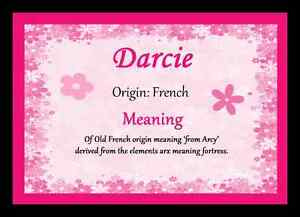 Darcie Personalised Name Meaning Placemat