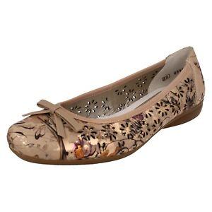 Détails sur Femmes Rieker L8356 Plat à Enfiler Métallique Pompe Robe Chaussures Été Floral