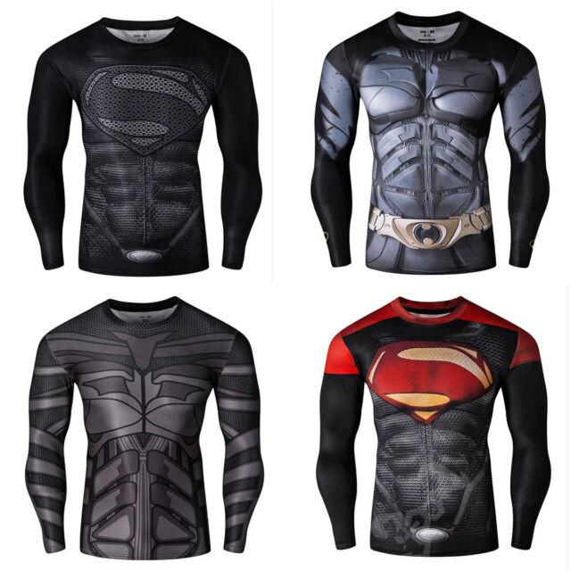 Men Batman Superman SUPER HERO 3D Long Sleeve T-Shirts Jersey Cycling Shirts