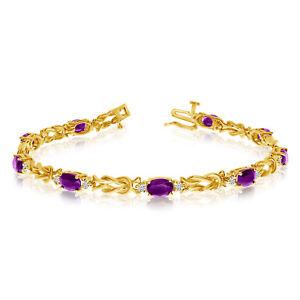 14k-Yellow-Gold-Natural-Amethyst-And-Diamond-Tennis-Bracelet