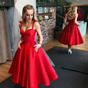 Red Short Satin Evening Cocktail Dress