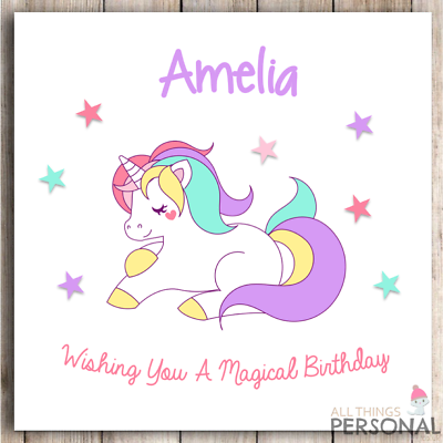 Sister Niece Personalised Girls Unicorn Birthday Card 1st 2nd 3rd 4th Daughter