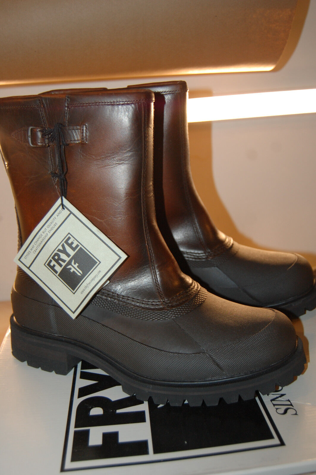NIB  FRYE Men's Alaska Pull On Rain Boot Whiskey Multi 10 M  Leather STYLE 86162