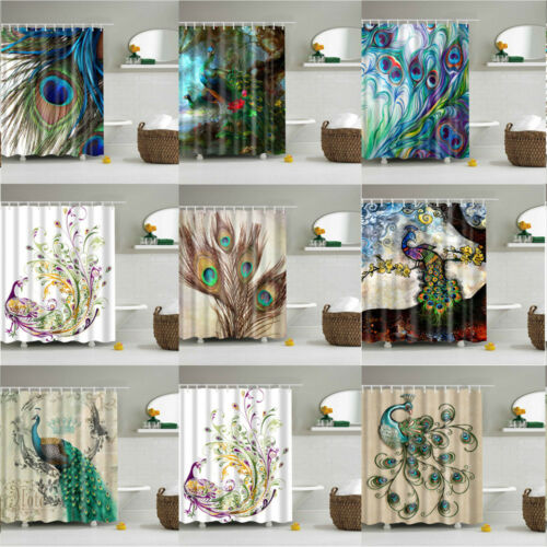 Shower Curtain With Hooks Beautiful Colorful Peacock Pattern Fabric Waterproof