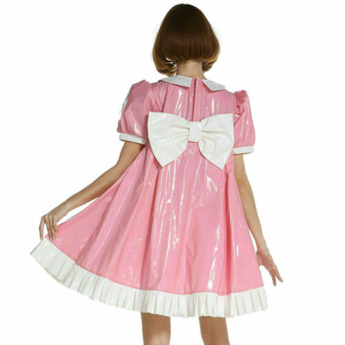 Details about  /Sissy Girl Maid PVC Pink A-Line Dress Crossdress Unifrom Cosplay Costume