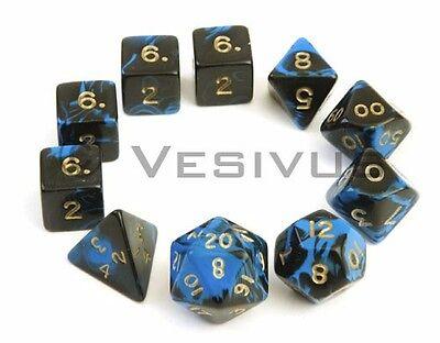 DICE Oblivion BLACK / BLUE 10pc Marble Full Set d20 d10 d8 d6 D&D RPG D&D
