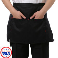 Waitress Waiter Waist Bib Apron 3 Pocket Home Cooking Kitchen Party Chef Unisex