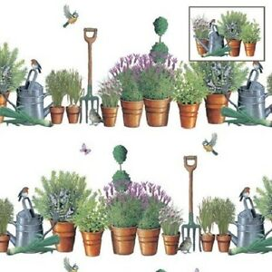 Kitchen-Garden-Birds-Gift-Wrap-2-sheets-amp-2-tags-Robin-Blue-Tit-Watering-Can