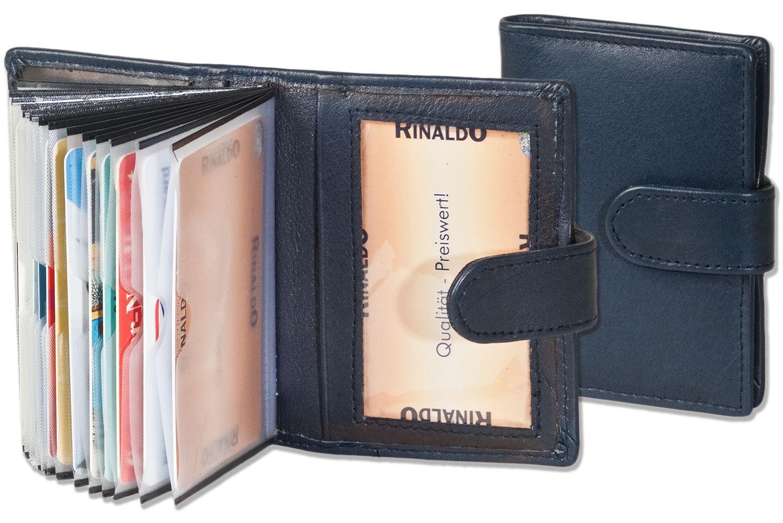 + Rinaldo - XXL-Kreditkartenetui für 19 Karten Kalbsleder dunkelblau 6880808