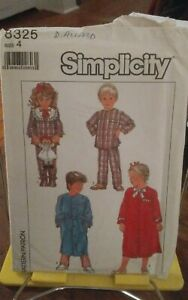 Oop-Simplicity-8325-childs-robe-front-buttons-pajamas-sz-4-NEW