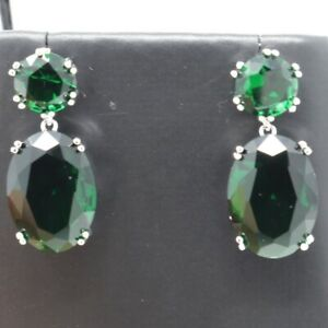 Vintage-Antique-Green-Emerald-Dangle-Earring-Women-Jewelry-14K-White-Gold-Plated