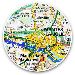 2-x-Vinyl-Stickers-25cm-Mante-la-Jolie-France-French-Travel-Map-45673