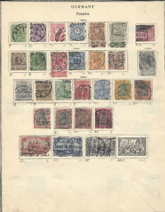 1880-1900 GERMANY STAMP LOT ON NEARLY COMPLETE ALBUM PAGE