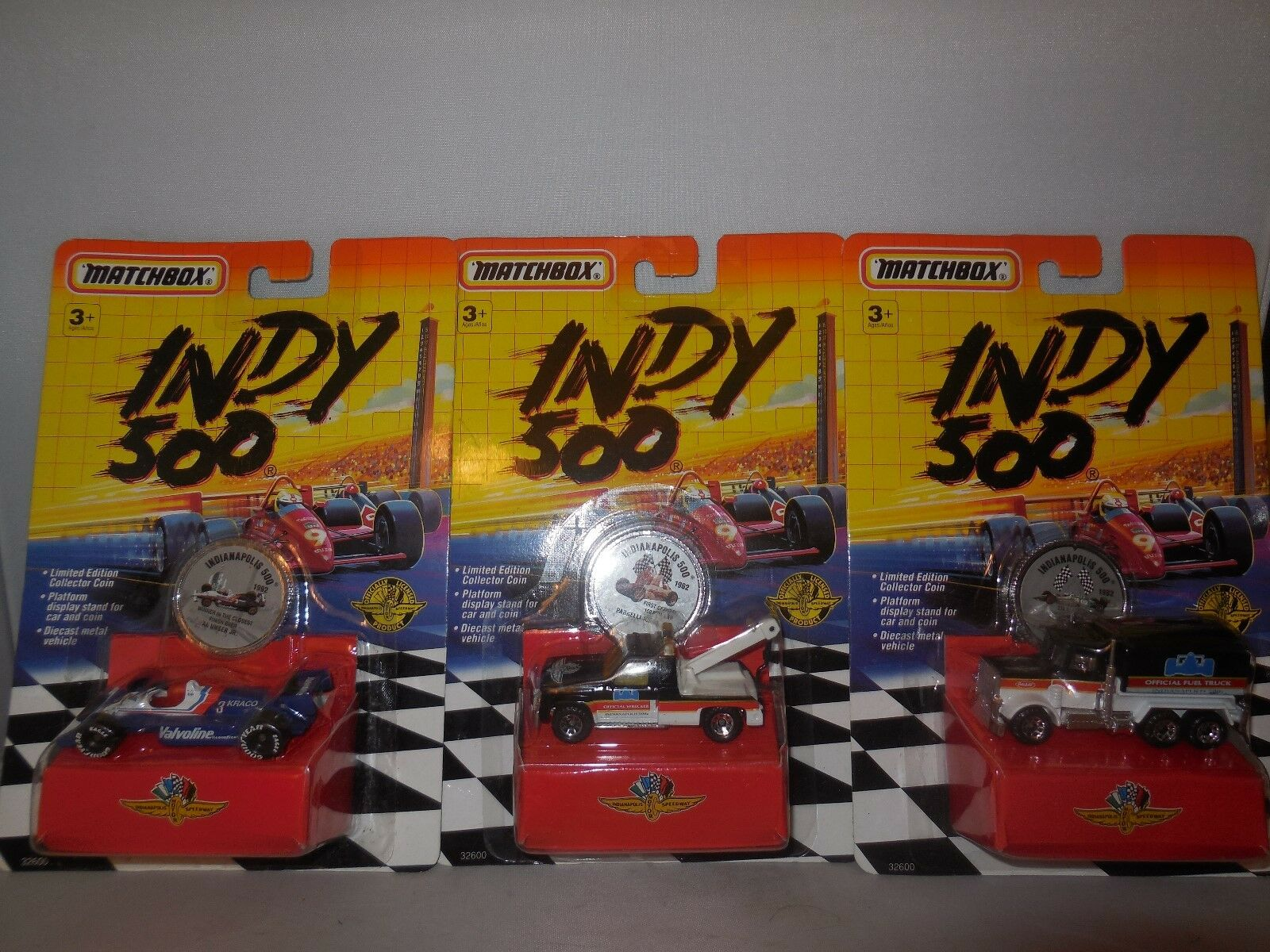 3  1992 matchbox indy 500 cars 1 fuel truck  1tow truck  1 race car   all new