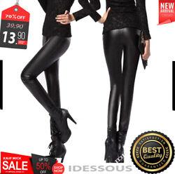Sexy Glanz Wet Look Leggings – Leder Look Leggins Legins High Waist Hose S M L