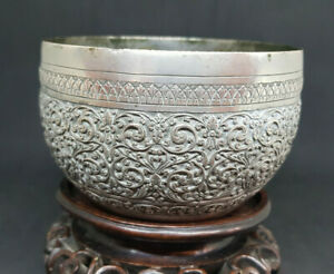 ANTIQUE-SOLID-SILVER-BURMESE-BOWL-170-G