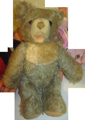 Amabile Vecchio Orso Di Peluche Plush Pezza Teddy Bear Spese Gratis Grigio Crema