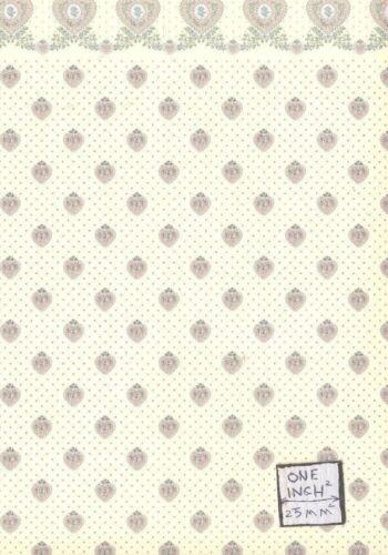 Petite Heart Cream w// Border 151D23 wallpaper miniature 1pc 1//12 scale